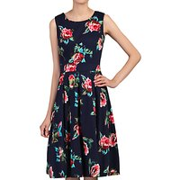 Jolie Moi Floral Pleated Swing Dress, Navy/Cherry
