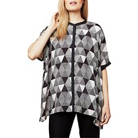 East Pyramid Print Oversized Blouse, Black