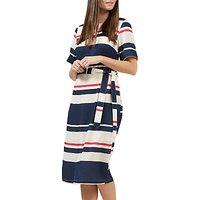 Sugarhill Boutique Heidi Stripe Belted Midi Dress, Cream/Navy/Pink