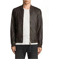 AllSaints Boxley Leather Bomber Jacket, Graphite Grey