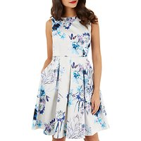 Closet Pleated Skater Dress, White/Blue