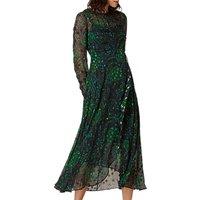 L.K. Bennett Roe Floaty Dress, Black/Green