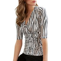 Pure Collection Curved Hem Wrap Top, White/Multi