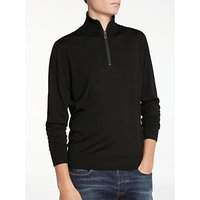 PS by Paul Smith Half Zip Merino With Tipping Jumper, Black