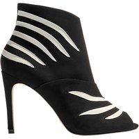 Karen Millen Striped Stiletto Heeled Shoe Boots, Black/White