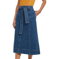 Jaeger Belted Denim A-Line Skirt, Mid Blue
