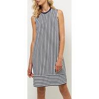 Jaeger Cotton Pique Stripe Jersey Dress, White/Navy
