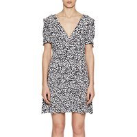 French Connection Agnes Printed Draped Dress, Black/White