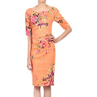 Jolie Moi Floral Print Half Sleeved Shift Dress, Coral