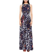 Ted Baker Kyoto Gardens Print Sleeveless Halterneck Floral Maxi Dress, Navy/Multi