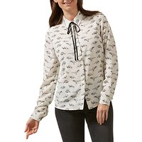 Sugarhill Boutique Catrina Jurassic Lark Tie Front Long Sleeve Shirt, Cream/Black