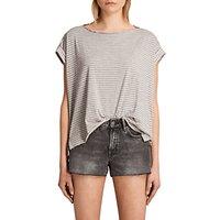 AllSaints Pina Stripe T-Shirt, Pink/Grey