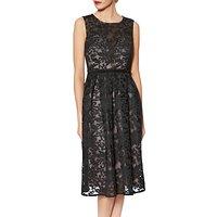 Gina Bacconi Emily Embroidered Mesh Dress, Black/Pink