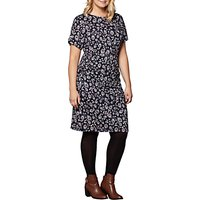 Yumi Curves Peacock Feather Jersey Dress, Navy