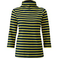 Pure Collection Funnel Neck Top, Navy/Chartreuse