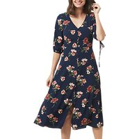 Sugarhill Boutique Astrid Painterly Floral Dress, Navy Floral