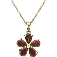 EWA Red Garnet Flower Pendant