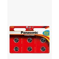 Panasonic CR-2032L/6BP Lithium Coin Batteries, Pack of 6