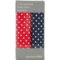 John Lewis Supersize Spot Handkerchiefs, Navy/Red