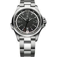 Victorinox 241569 Mens Night Vision Bracelet Strap Watch, Silver/Black