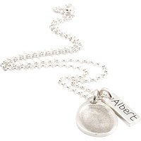 Fingerprint Jewellery Teardrop Charm And Little Tag Necklace, Silver