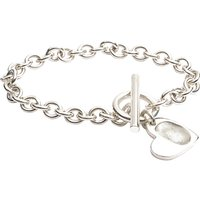 Fingerprint Jewellery Heart Charm T-bar And Ring Bracelet, Silver