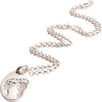 Fingerprint Jewellery Ten Tiny Toes Oval Pendant Necklace, Silver