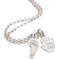 Fingerprint Jewellery Two Little Hand And Footprint Charms Necklace, Silver