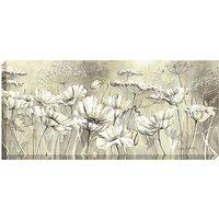 Catherine Stephenson - Neutral White Poppies Print on Canvas, 60 x 135cm