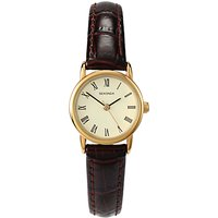 Sekonda 4458.27 Womens Croc Effect Leather Strap Watch, Brown/Cream