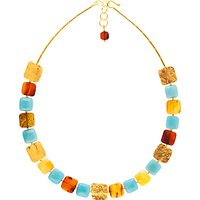 Be-Jewelled Amber and Amazonite Square Statement Necklace, Multi