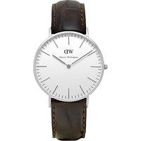 Daniel Wellington 0610DW Womens Classy York Leather Strap Watch, Brown Croc
