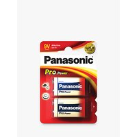 Panasonic Pro Power 6LR61 Alkaline 9V Battery, Pack of 2