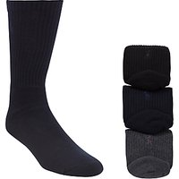 Polo Ralph Lauren Cotton Rich Socks, Pack of 3, One Size, Black/Charcoal/Navy