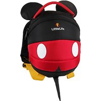 LittleLife Mickey Mouse Toddler Backpack, Black/Red