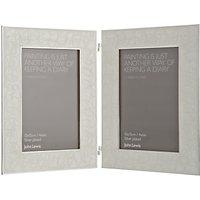 John Lewis Amy Silver Plated Enamel Double Photo Frame, 4 x 6 (10 x 15cm)