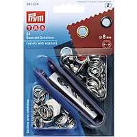 Prym Eyelets with Washers, 8mm, Silver, Pack of 24