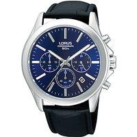 Lorus RT389AX9 Mens Chronograph Date Leather Strap Watch, Black/Blue