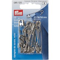 Prym Safety Pins, 50mm, Pack of 18, Silver