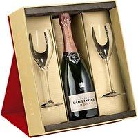 Bollinger Rosé Champagne and 2 Flutes Set, 75cl