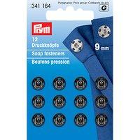 Prym Sew-on Snap Fasteners, 9mm, Pack of 12, Black