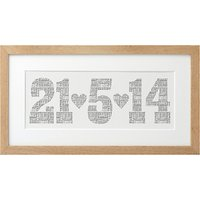 Letterfest Personalised Typographic Date Framed Print, 21 x 42cm