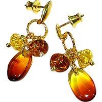 Goldmajor Gold Plated Triple Amber Drop Earrings
