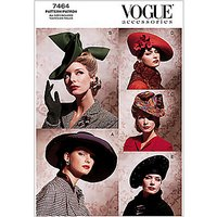 Vogue Womens Accessories Hats Sewing Pattern, 7464