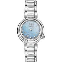 Citizen EM0320-59D Womens Sunrise Diamond and Mother of Pearl Eco-Drive Stainless Steel Bracelet Strap Watch, Silver/Blue