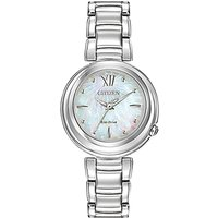 Citizen EM0330-55D Womens Sunrise Mother of Pearl Eco-Drive Stainless Steel Bracelet Strap Watch, Silver/Blue