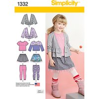 Simplicity Girls Jacket, Top, Trousers And Skirt Sewing Pattern, 1332