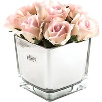Artificial Peony Roses in Mirror Cube, Large