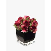 Artificial Peony Roses in Black Cube, Fuchsia, Small