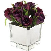 Artificial Peony Roses in Mirror Cube, Yellow, Small